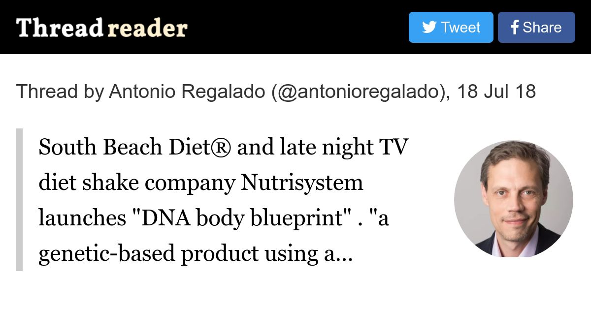 Thread by antonioregalado south beach diet and late night tv thread by antonioregalado south beach diet and late night tv diet shake company nutrisystem launches dna body blueprint a genetic based product malvernweather Images