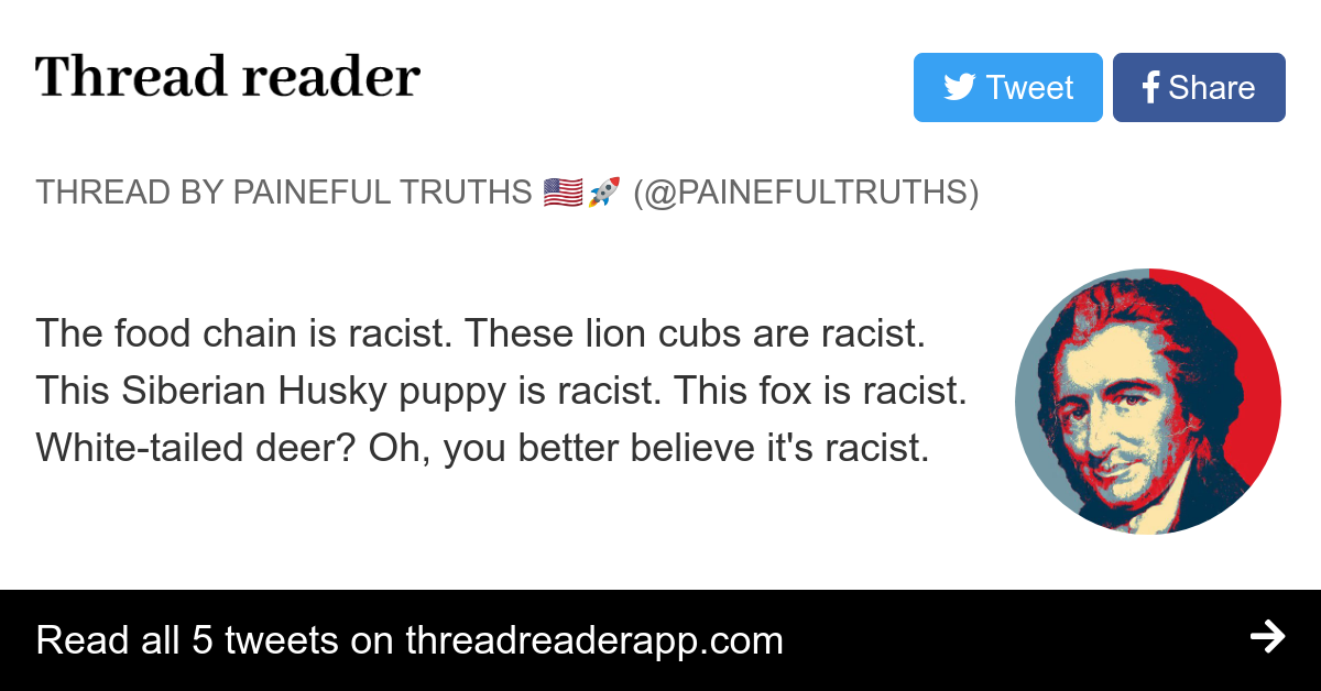 Thread By Painefultruths The Food Chain Is Racist These Lion