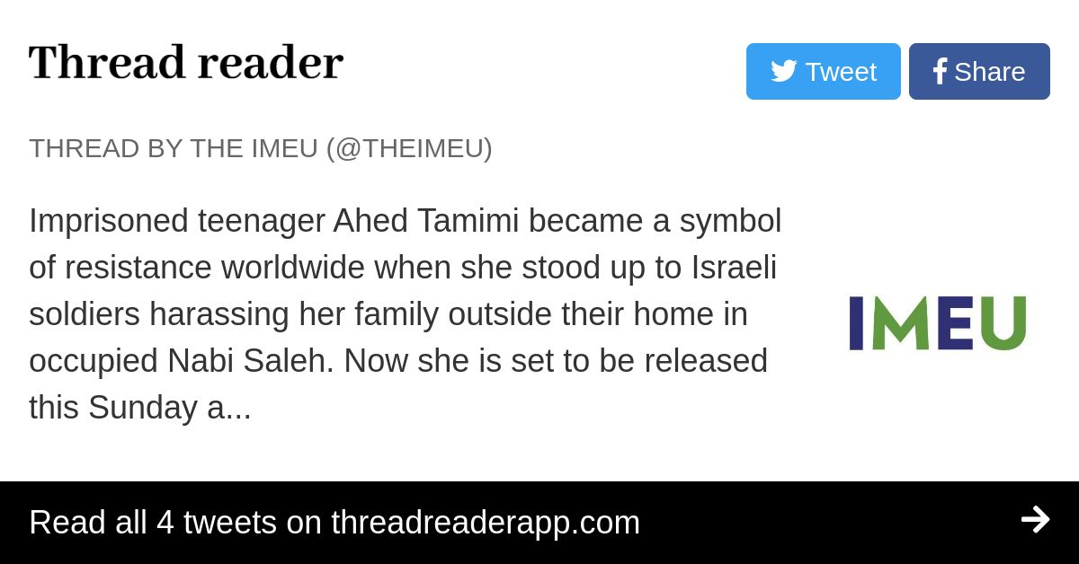 Thread By Theimeu Imprisoned Teenager Ahed Tamimi Became A Symbol