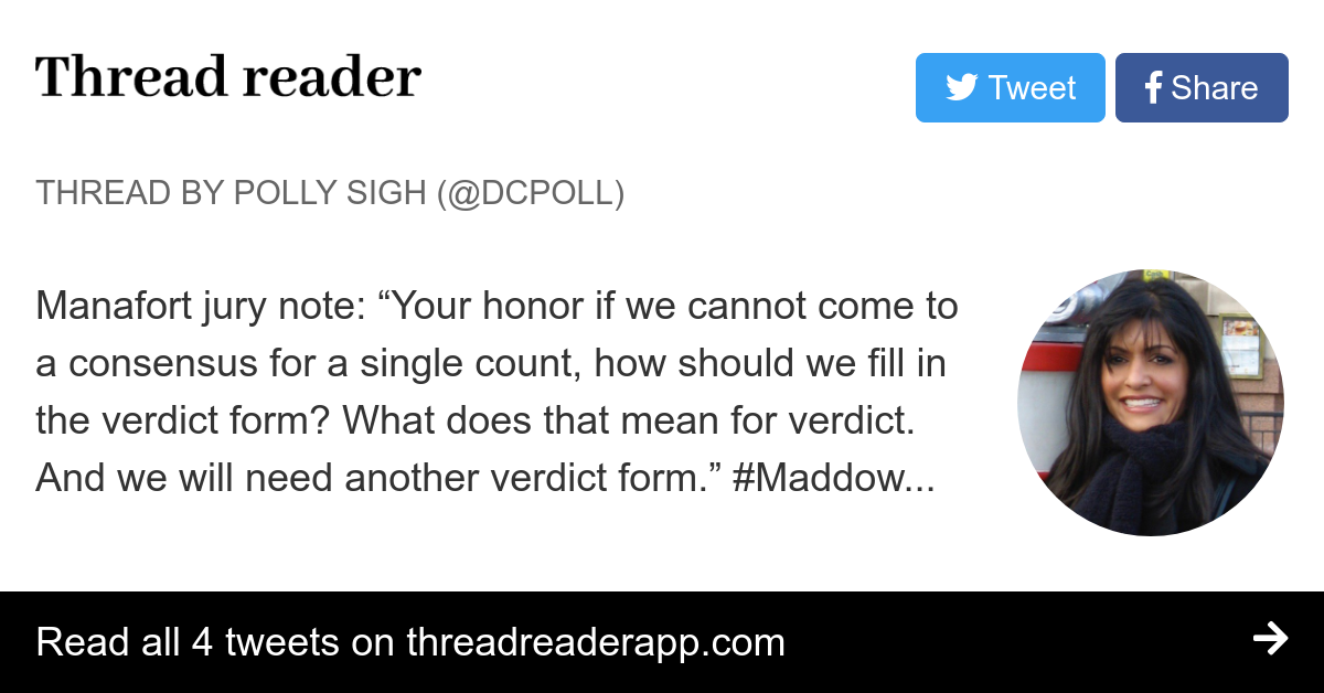 Thread By Dcpoll Manafort Jury Note Your Honor If We Cannot Come To A Consensus For Single Count How Should Fill In The Verdict Form