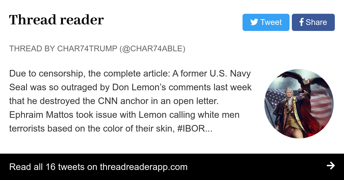 Don Lemon Open Letter.Thread By Char74able Due To Censorship The Complete Article A