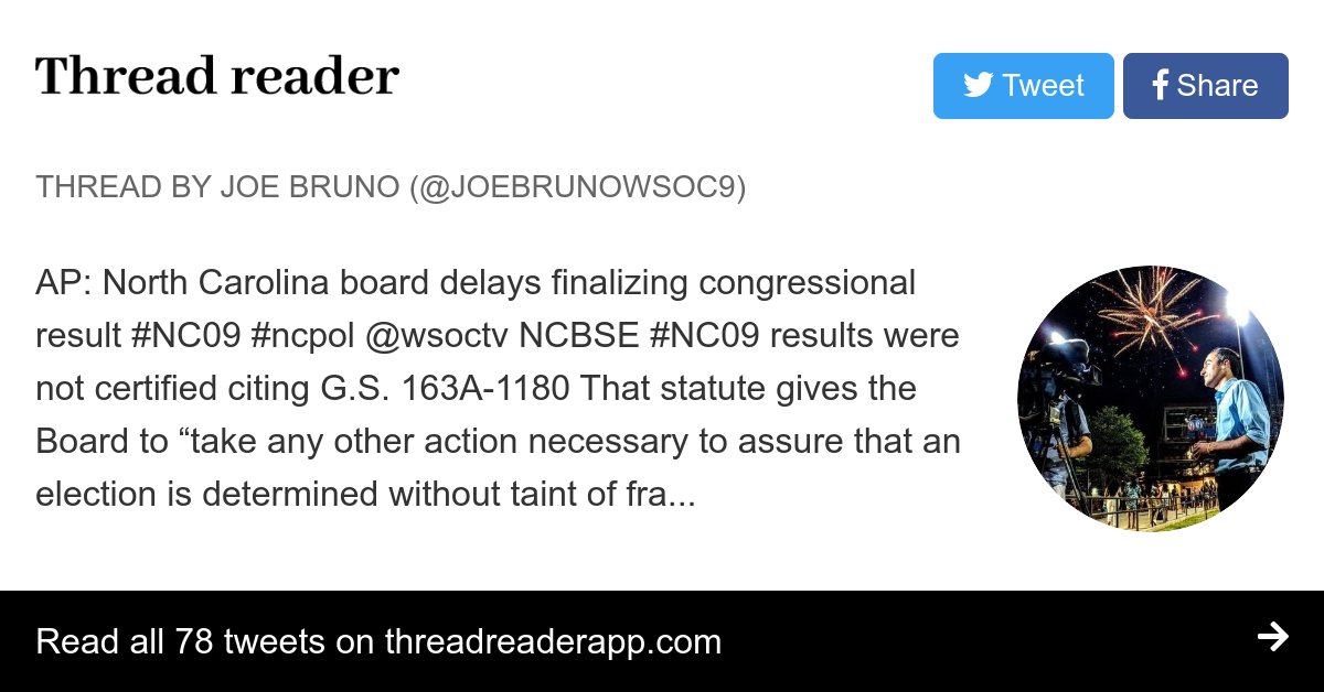 "Thread by @JoeBrunoWSOC9: ""AP: North Carolina board delays finalizing congressional result @wsoctv NCBSE results were not certified citing G.S. 163A […]"" #NC09 #ncpol #CLTCC"