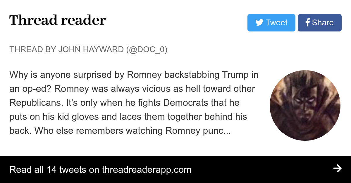 """Thread by @Doc_0: """"Why is anyone surprised by Romney backstabbing Trump in an op-ed? Romney was always vicious as hell toward other Republicans. It's only when […]"""""""