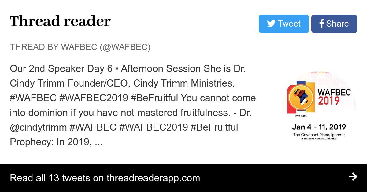 Thread by @WAFBEC: