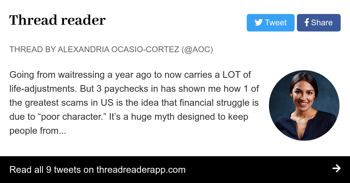 """Thread by @AOC: """"Going from waitressing a year ago to now carries a LOT of life-adjustments. But 3 paychecks in has shown me how 1 of the greatest scams in U […]"""""""