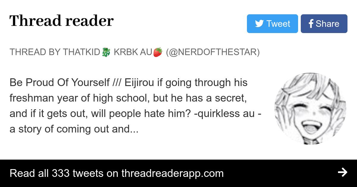 Thread By Nerdofthestar Be Proud Of Yourself Eijirou