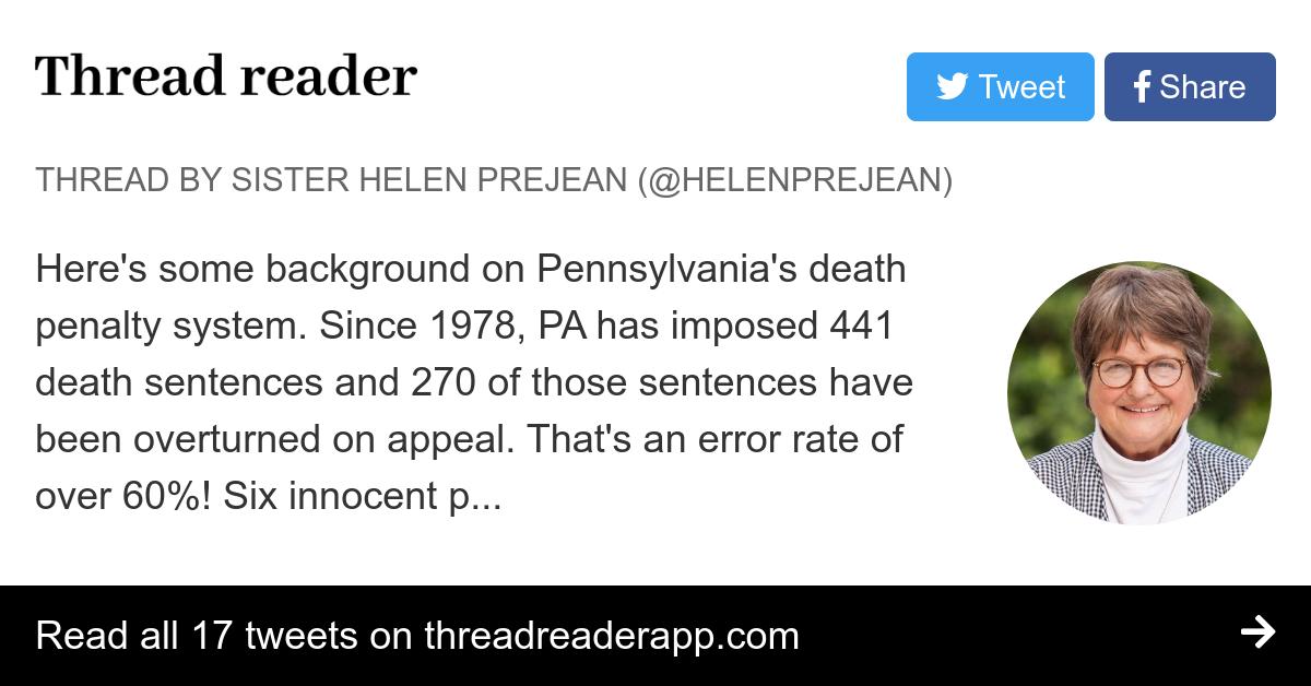 Thread by @helenprejean: