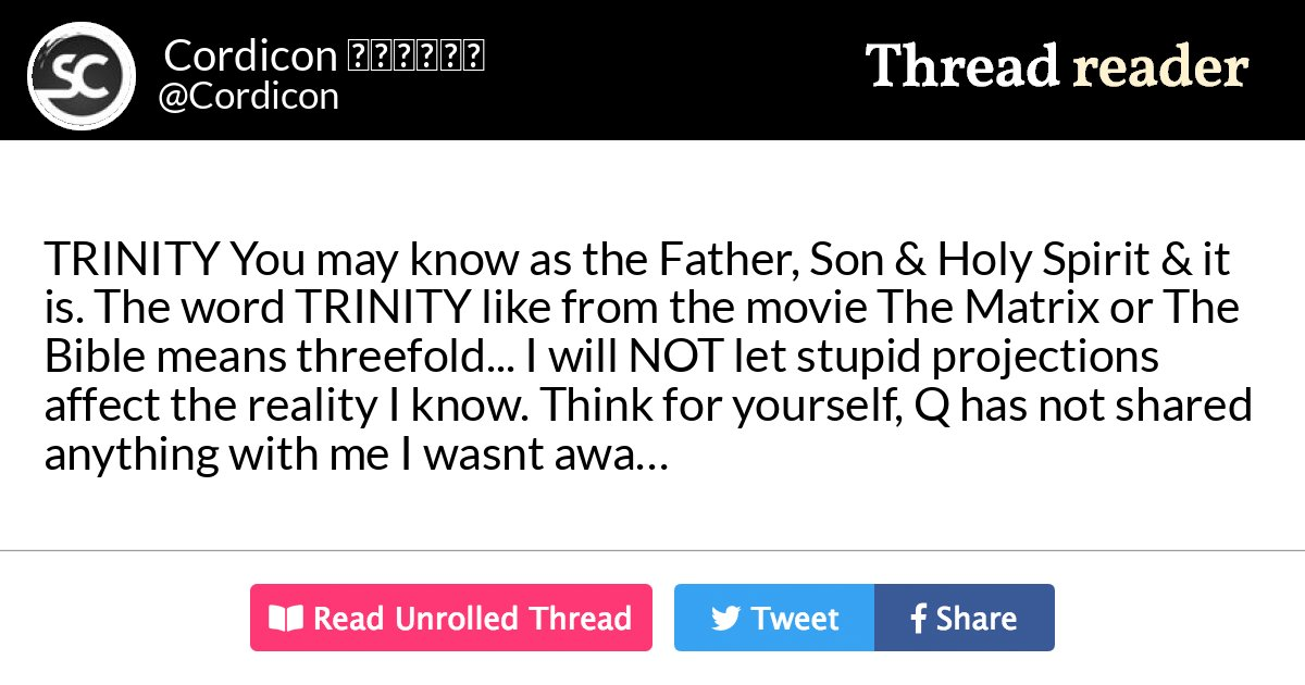 """Thread By @Cordicon: """"TRINITY You May Know As The Father"""