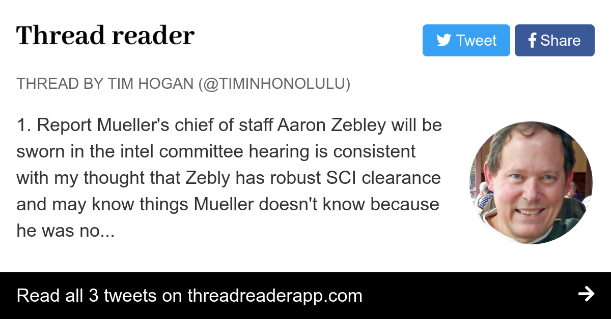 Thread By Timinhonolulu 1 Report Mueller S Chief Of