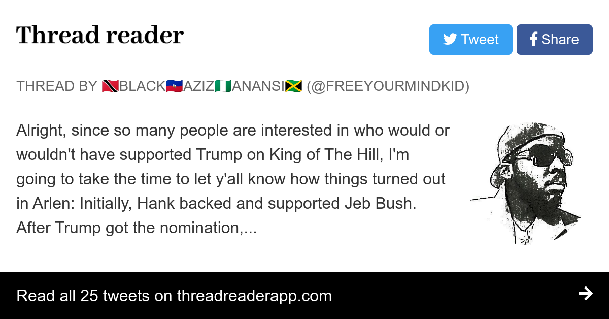 """Thread by @Freeyourmindkid: """"Alright, since so many people are interested in who would or wouldn't have supported Trump on King of The Hill, I'm going to take the time t […]"""""""