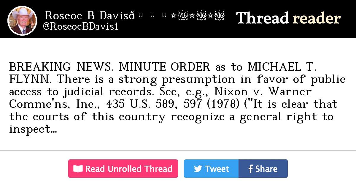 "Thread by @RoscoeBDavis1: ""BREAKING NEWS. MINUTE ORDER as ..."