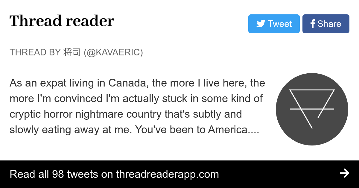 """Thread by @Kavaeric: """"As an expat living in Canada, the more I live here, the more I'm convinced I'm actually stuck in some kind of cryptic horror nightmare count […]"""""""