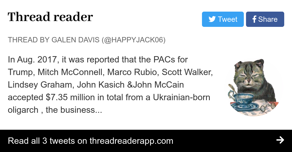 "Thread by @HappyJack06: ""In Aug. 2017, it was reported that the PACs for Trump, Mitch McConnell, Marco Rubio, Scott Walker, Lindsey Graham, John Kasich &John McC […]"""
