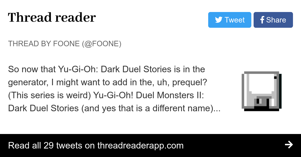 Thread By Foone So Now That Yu Gi Oh Dark Duel Stories Is In The Generator I Might Want To Add In The Uh Prequel This Series Is Weird Yu Gi Oh Duel