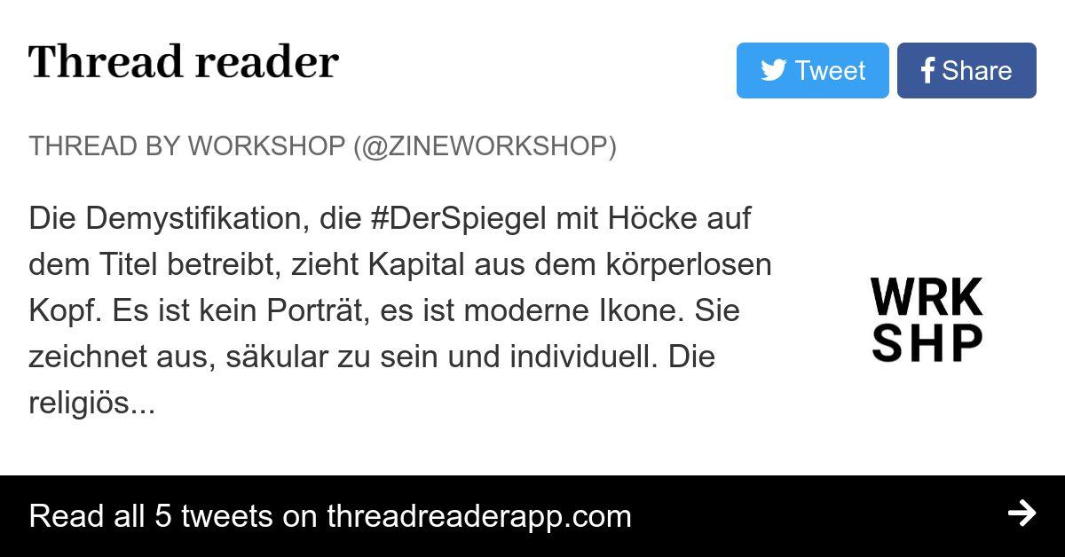 Thread by @zineworkshop: Die Demystifikation, die # ...