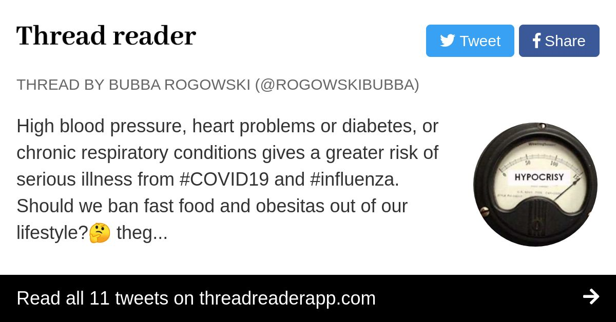 Thread by @RogowskiBubba: High blood pressure, heart problems or diabetes, or chronic respiratory conditions gives a greater risk of serious illness from #COVID19 and…