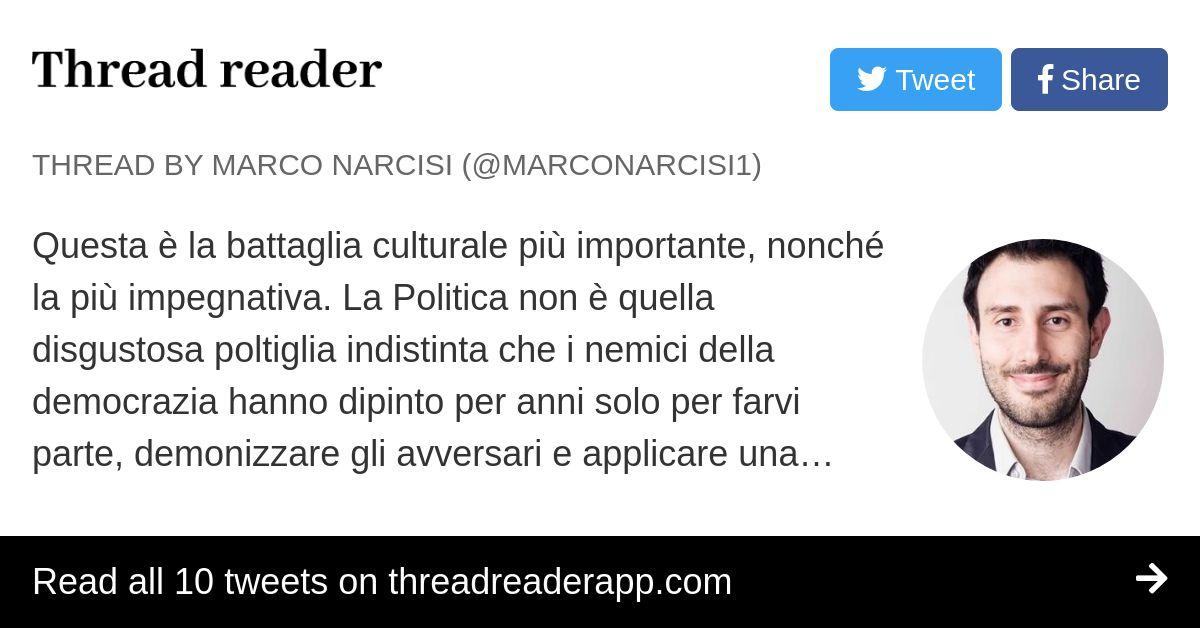 Thread by @MarcoNarcisi1: Questa è la battaglia culturale ...