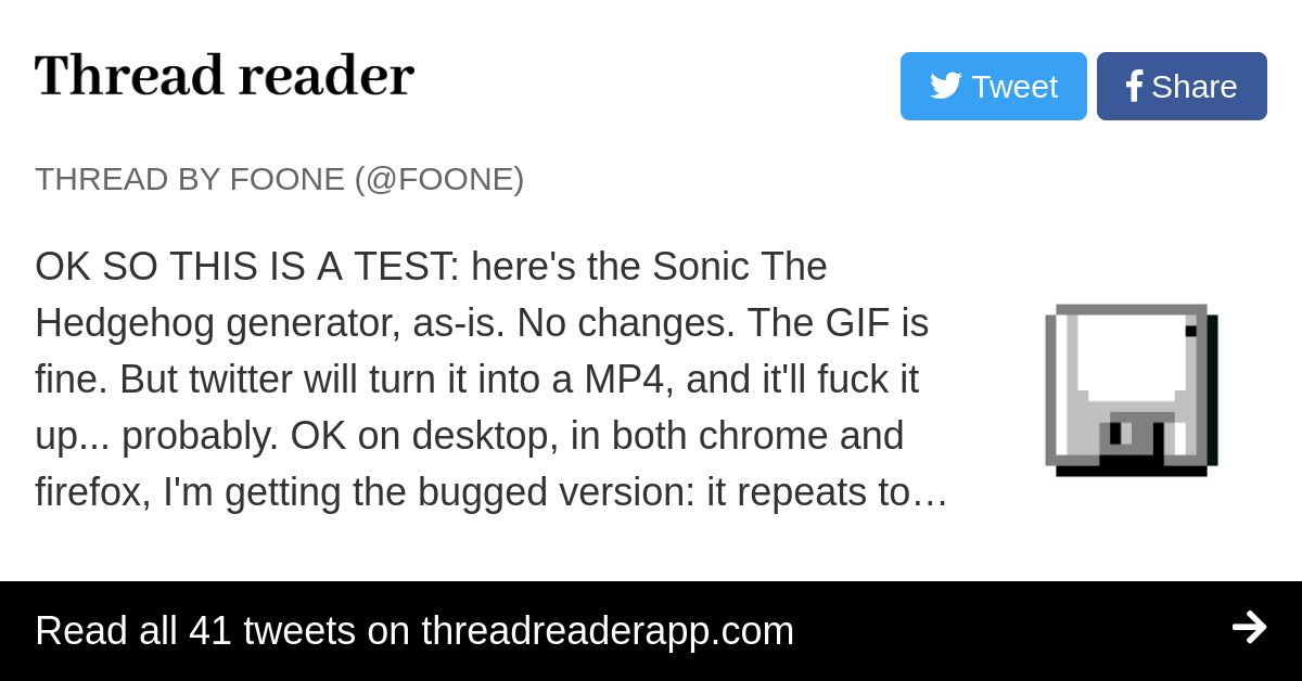 Thread By Foone Ok So This Is A Test Here S The Sonic The Hedgehog Generator As Is No Changes The Gif Is Fine But Twitter Will Turn It Into A Mp4 And