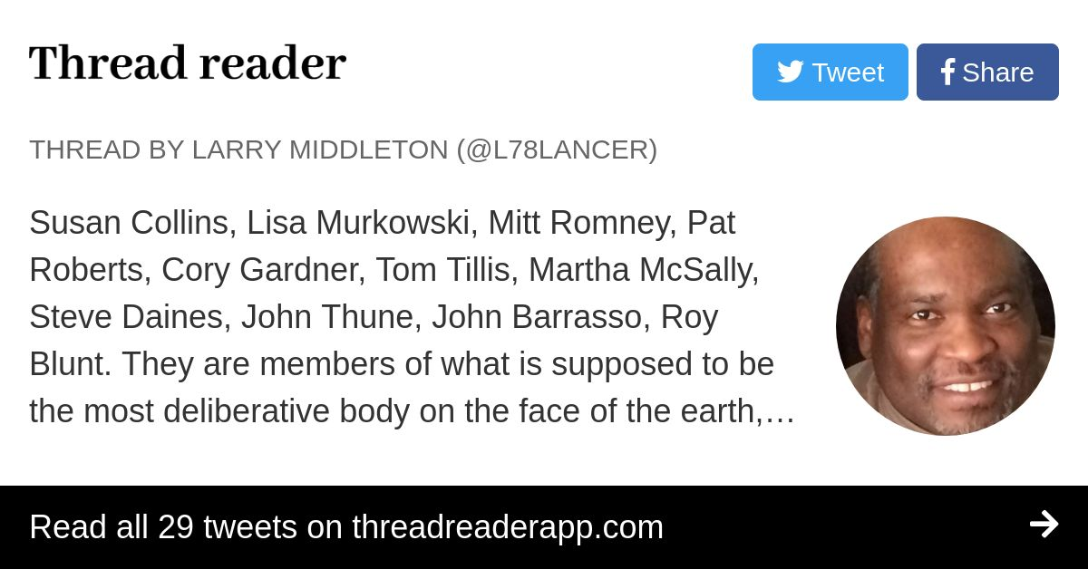 Thread by @l78lancer: Susan Collins, Lisa Murkowski, Mitt Romney, Pat Roberts, Cory Gardner, Tom Tillis, Martha McSally, Steve Daines, John Thune, John Barrasso,…