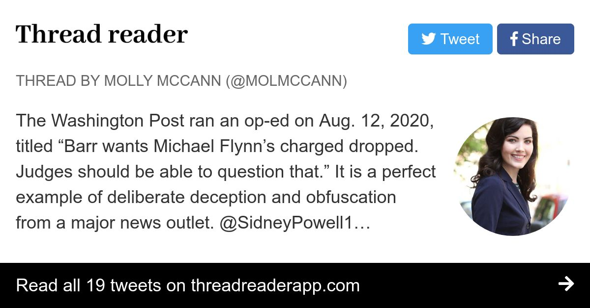 """Thread by @molmccann: The Washington Post ran an op-ed on Aug. 12, 2020, titled """"Barr wants Michael Flynn's charged dropped. Judges should be able to question tha…"""