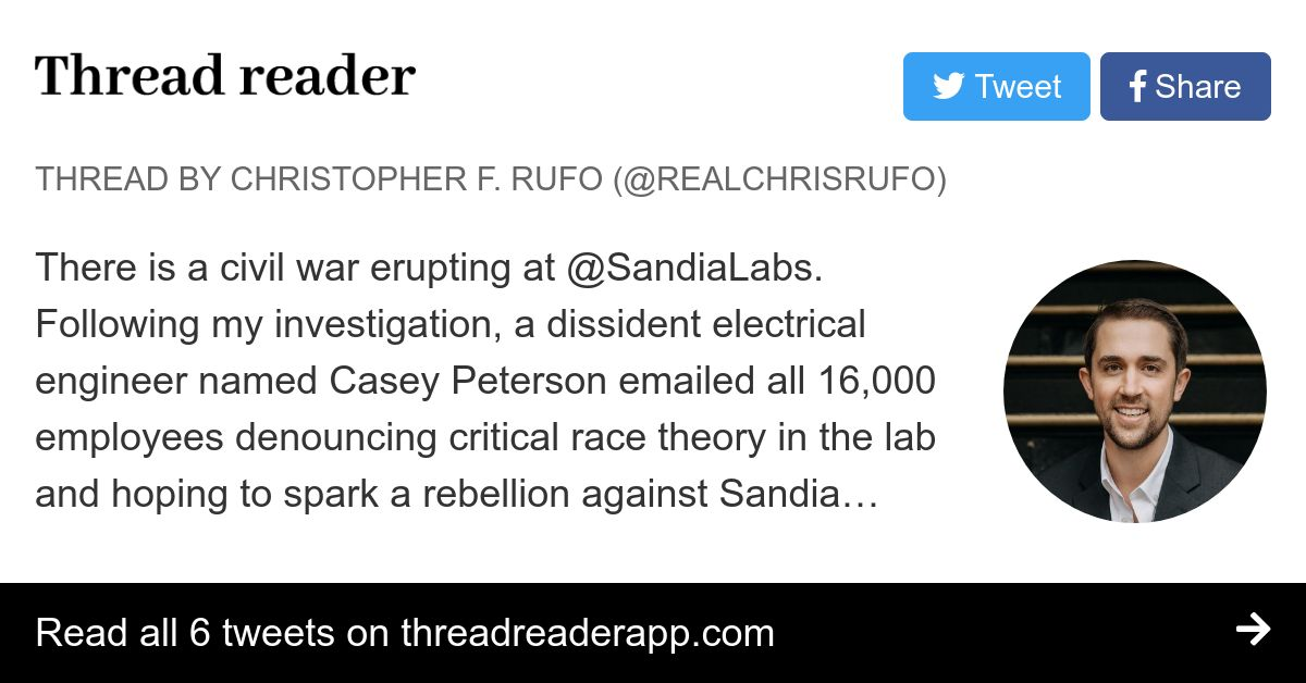 Thread by @realchrisrufo: There is a civil war erupting at @SandiaLabs. Following my investigation, a dissident electrical engineer named Casey Peterson emailed all 1…