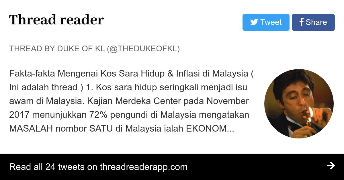 Thread By Thedukeofkl Fakta Fakta Mengenai Kos Sara Hidup Inflasi Di Malaysia Ini Adalah Thread 1 Kos Sara Hidup Seringkali Menjadi Isu Awam Di Malaysi